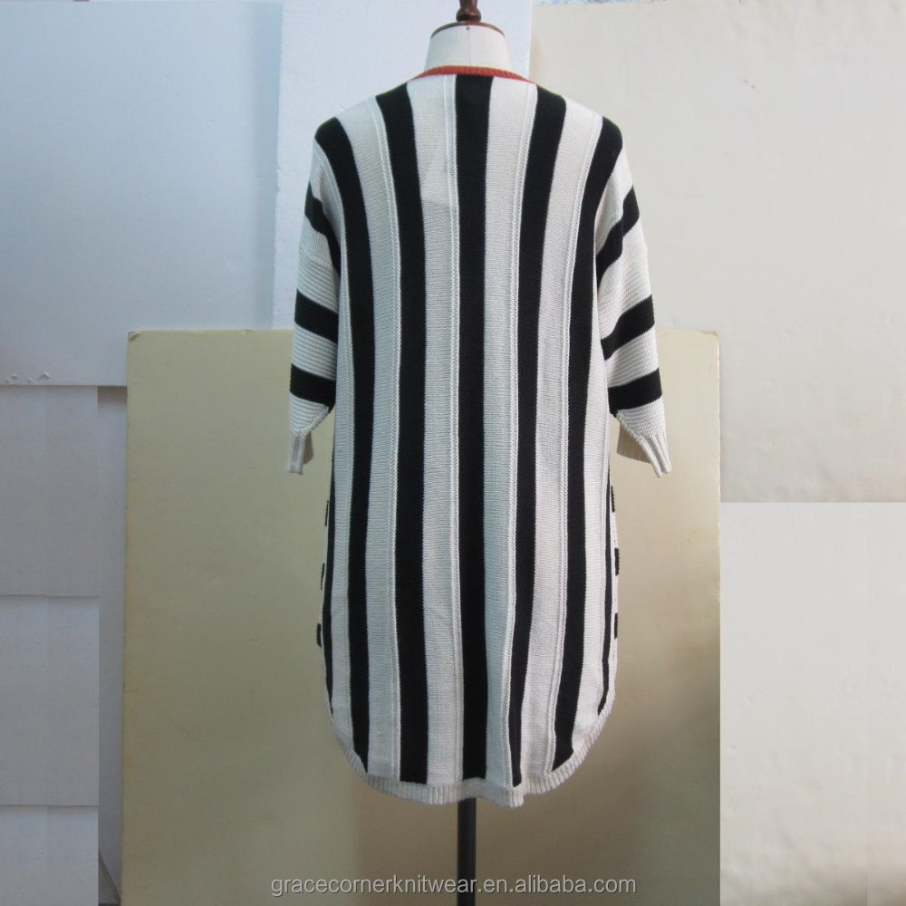 100% cotton knitted vertical striped sweater for women