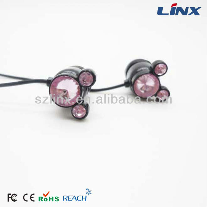 High quality rhinestone earphonefor MP3 and portable players