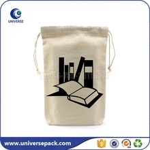 Drawstring cotton book dust bag with customized printing