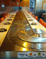 Super low friction tracks sushi conveyor belt system