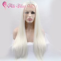 "Fashion 26"" Long Soft Silk Straight Platinum Blonde Heat Friendly Fiber Hair Glueless Synthetic Lace Front Wigs for White Women"
