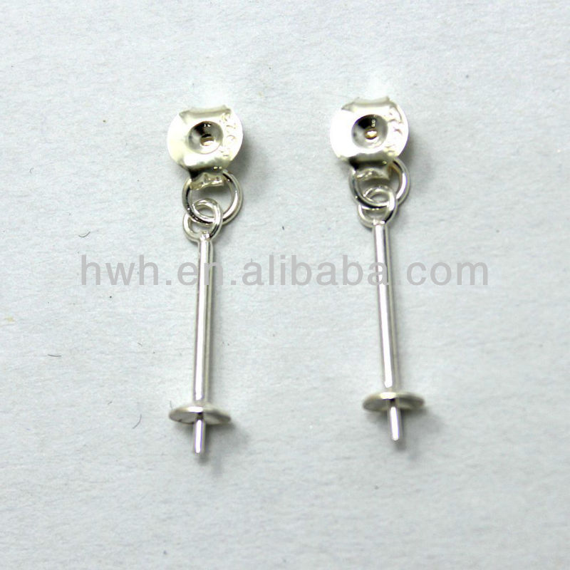 H1807 Sterling Silver Finding Earring Back with Pearl Cap