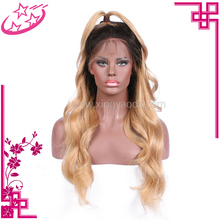 8 A Grade Body Wave Virgin Ombre Blonde Full Lace Wig , Braided Wigs For Black Women