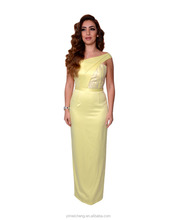 New one shoulder yellowish elegant long bridesmaid robes pictures of latest gowns designs