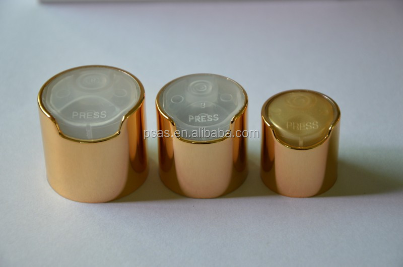 Metal aluminum plastic Bottle Press Cap Gold Metalized Disc Top Cap 24mm 28mm