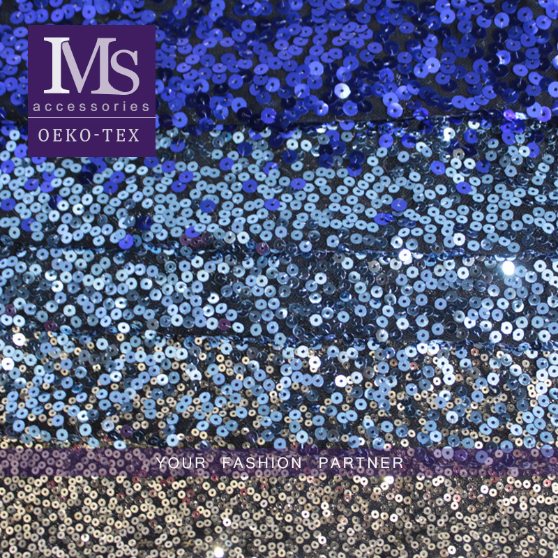 gradually changing color sequins fabric, polyester embroidery sequins fabric for women bags