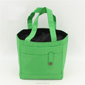 Custom wholesale green color drawstring polyester lunch cooler bag