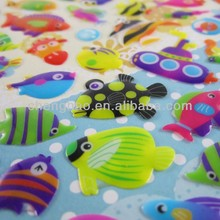 promotional ahesive resin craft fish epoxy sticker for kids gifts