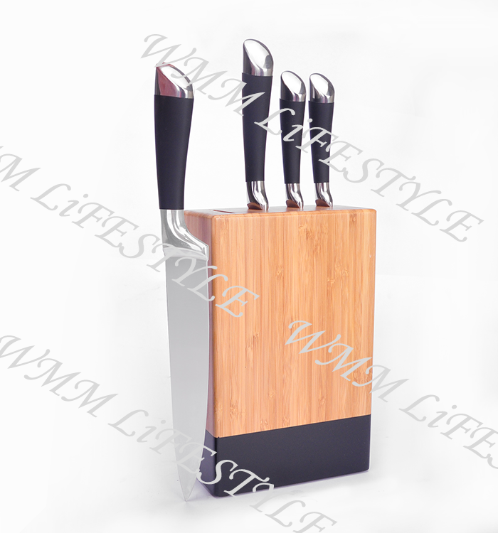 4pcs stainless steel knife sets with wooden block for kitchen
