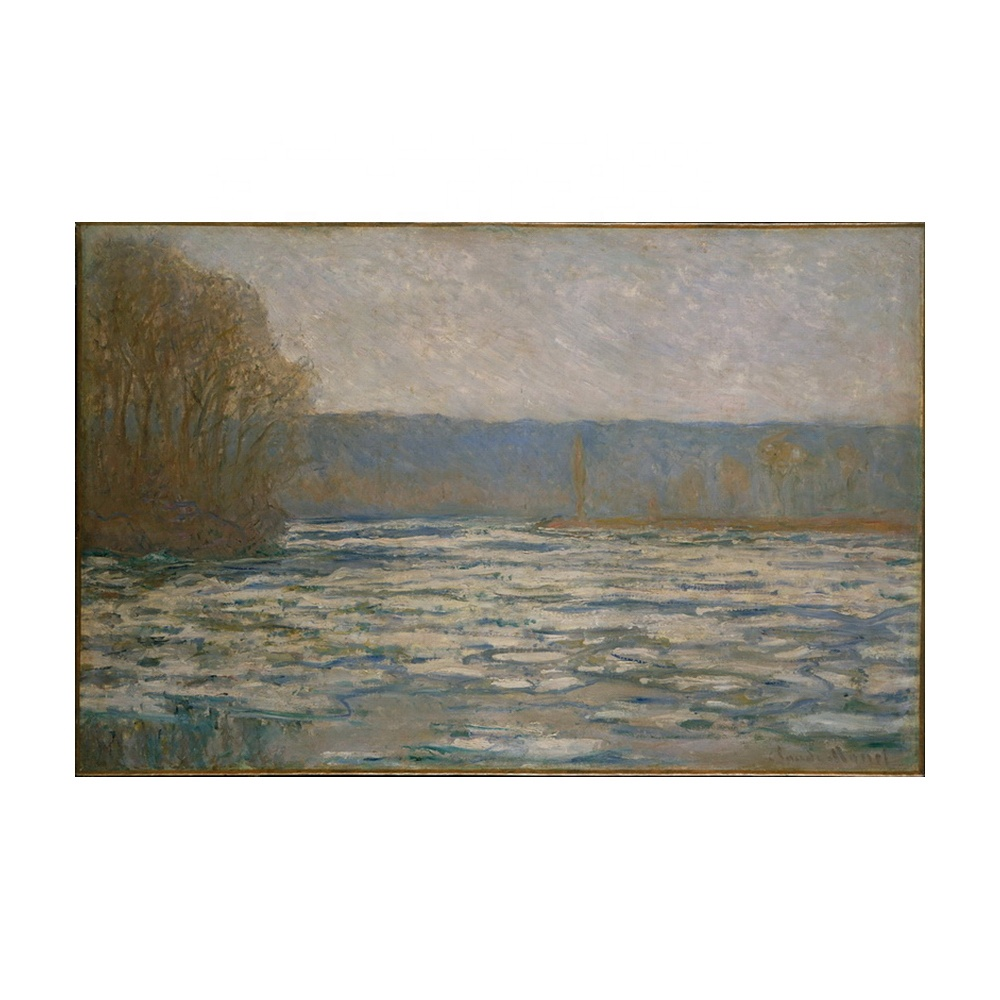 Claude Monet Giclee Canvas Print Paintings Poster Reproduction Fine Art Wall Decor(Ice breaking up on the Seine near Bennecourt)