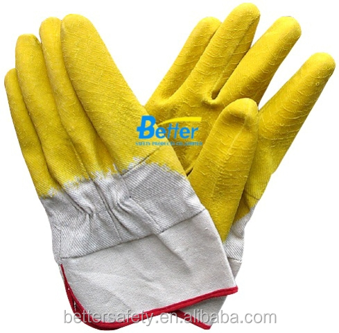 Safety Cuff Woven Fabric Lined Yellow Latex Coated Industrial Glove China Factory