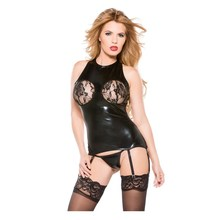 Black Open Cup Leather Lingerie Transparent Naughty Women Erotic Underwear Hot Lingerie Sexy Babydoll