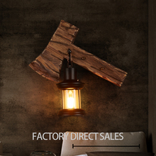 10% off American retro industrial anique solid wood wall lamp for Bar Cafe Balcony Stair Aisle
