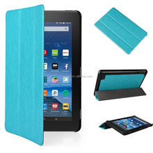 7 inch Three fold ultra-thin stand PU leather case for kindle fire 7 with sleep fuction, tablet leather case