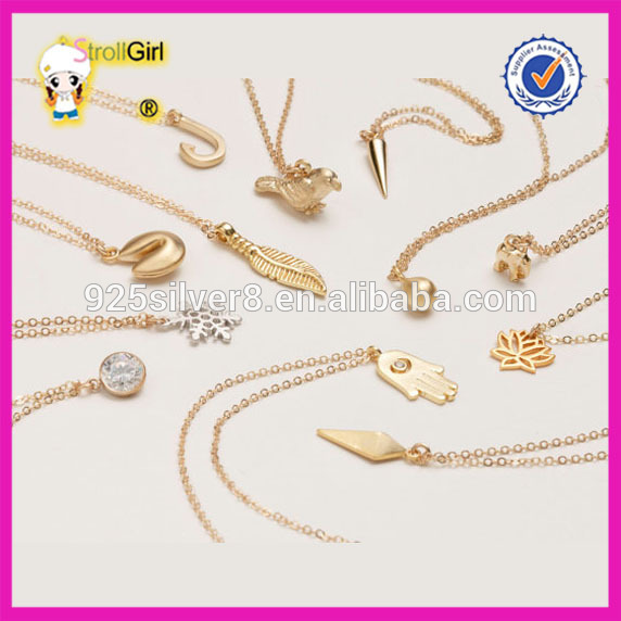 Fashion Jewelry Wholesale Delicate Minimal Gold Necklace Designs in 3 grams Hamsa, Anchor, Spike, Bird gold jewelry 18k