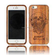 Anit-slip Angry SKULL Engraving WALNUT wood phone protected case for Iphone 6 in two parts