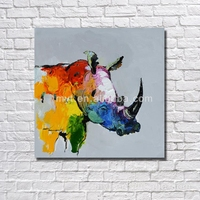 Rhinoceros wall picture r abstract animal body hand paint decoration painting multi color oil painting