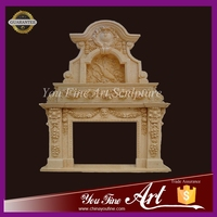 Western style yellow marble double sized mantel fireplace