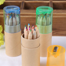 FQ promotional natural mini wooden colored pencil set color pencil with sharpener