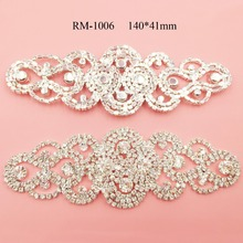 Bridal crystal applique for wedding gown dresses rhinestone applique patch lace trim sash (RM-1006)