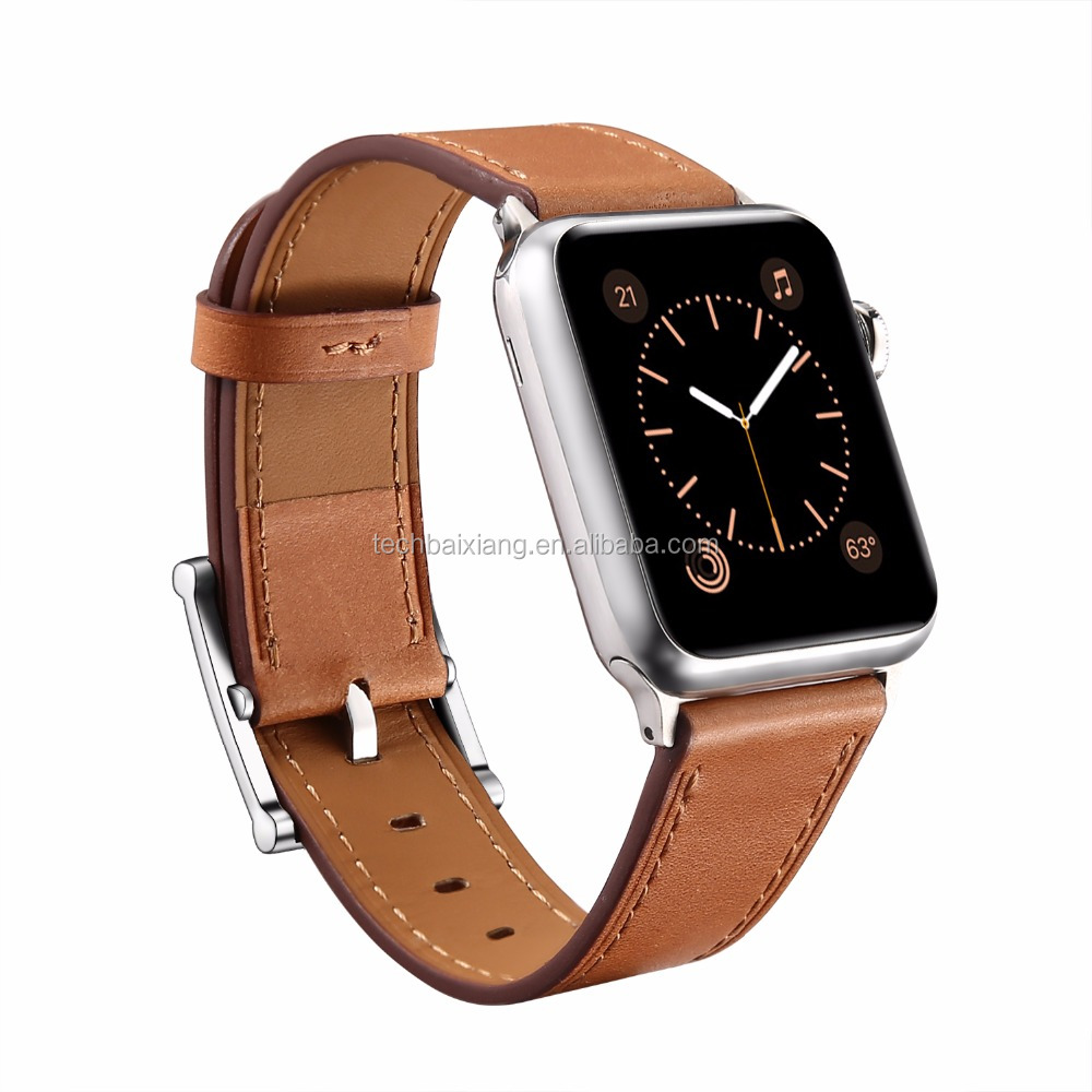 Genuine Leather Replacement Watch Bands Brown Leather Watch Strap For Apple Watch Straps