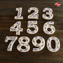 Blue and white ceramic digit figure number decoration