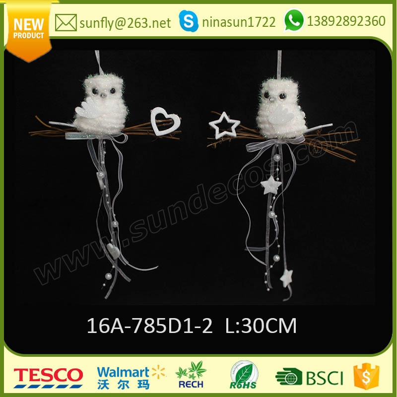 2016 holiday time handmade crafts christmas decorations 6cm hanging white and golden owl tree ornaments made in china