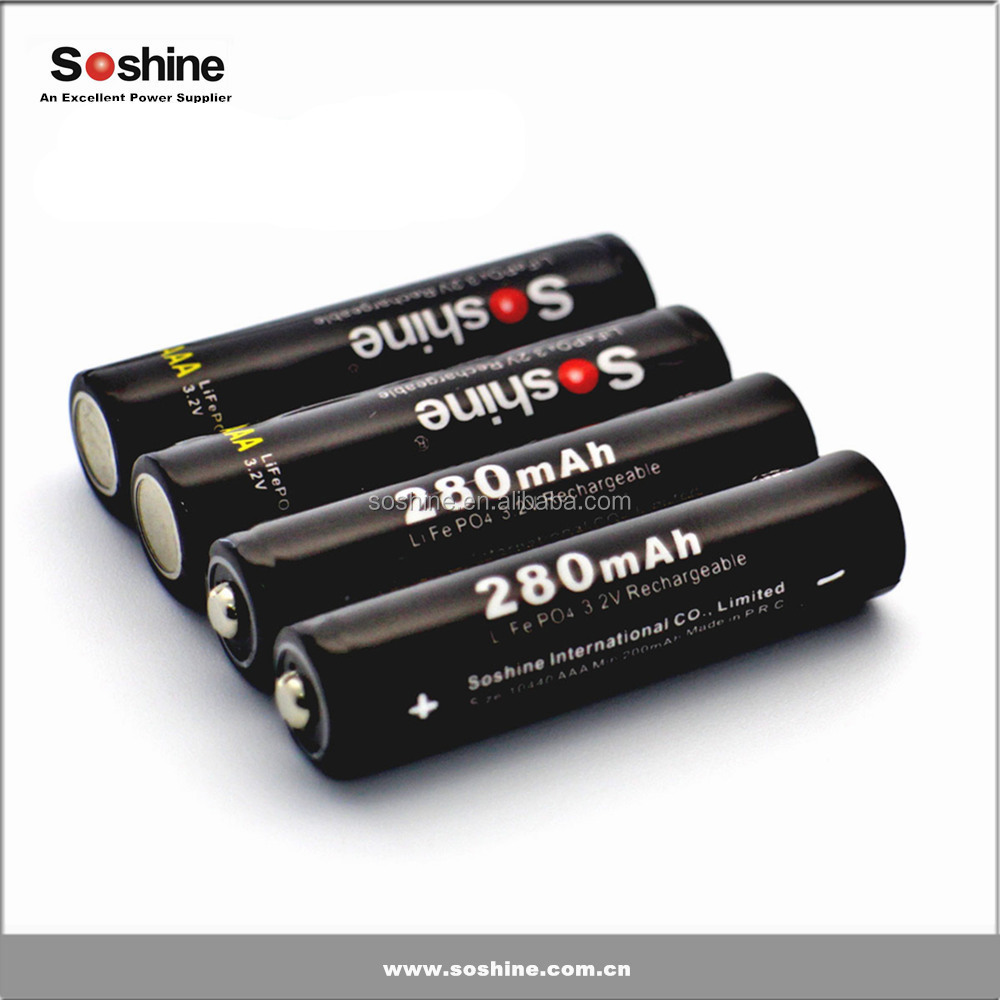 3.2v 280mah rechargeable LiFePo4 battery 10440 lifepo4 battery excellent performance with good quality