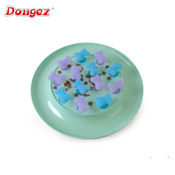 2018 New design Silicone Dog slow feeder bowl food grade Non-toxic pet food plate Melamine pet bowl