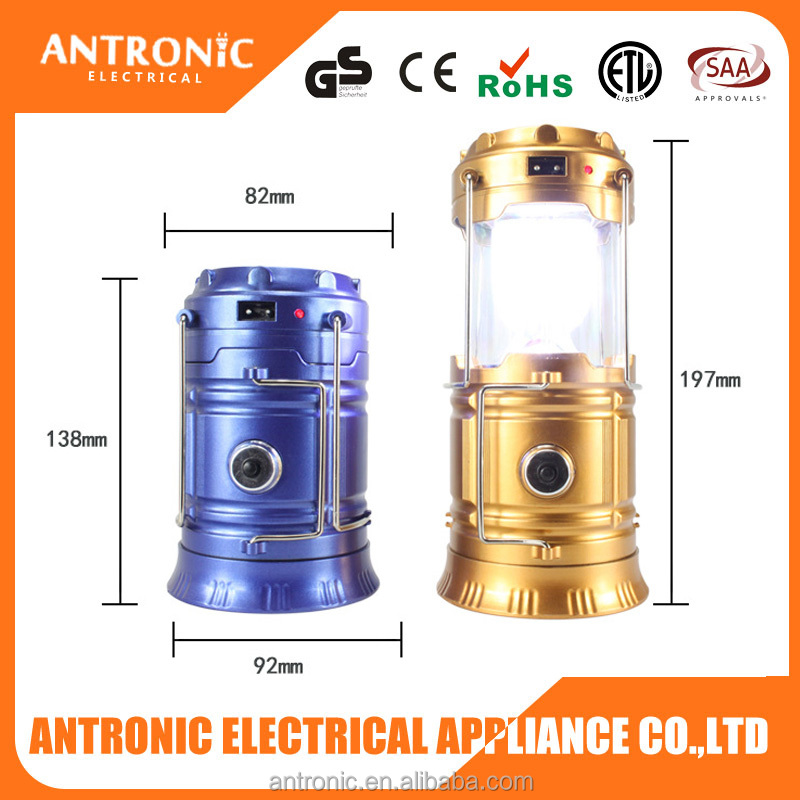 Hot selling 3 in 1 electric rechargeable solar powered camping lantern factory portable