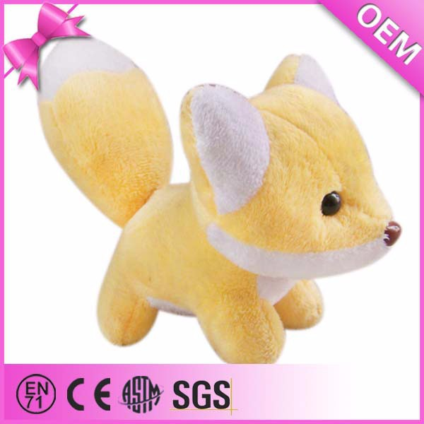 Lovely cute mini plush animal toy, yellow stuffed fox
