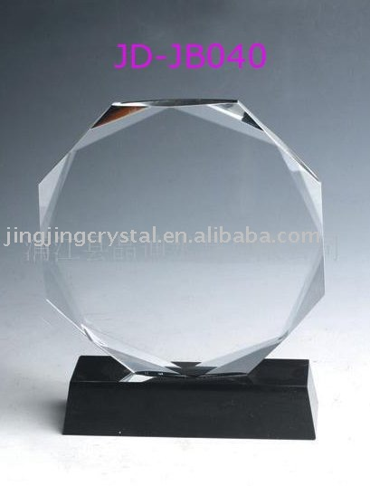 New fashion Classic Fancy Heronsbill shape Crystal Glass Medal Black Crystal Base