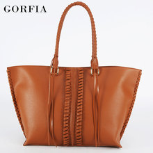2017 Top grade lady PU leather tote bag plain camel brown color fashion women handbag