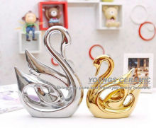 Silver Gold Glazed Fashion Handmade Ceramic Swan Lovers For Gift & Decoration