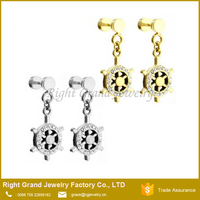Wholesale Fashion Stainless Steel AAA CZ Stone Dangle Fake Plug Earrings For Unisex