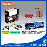 China brand 5 channel 360 high speed rotation special effects rotating bus with lights music electric rc stunt car
