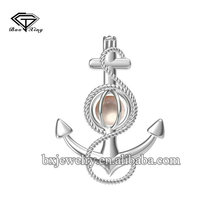 2017 latest fashion top design stylish charm silver 925 anchor cage pendant
