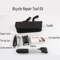 Portable bicycle repair tool bag folding tire repair multifunctional kit set with pouch pump for bike bicycle