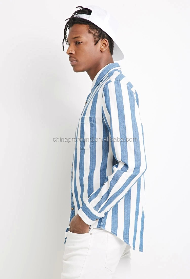custom new design vertical striped men's shirts