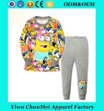 new baby boys full sleeve pajamas suits kids cotton minions printd sleepwears