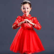 In Stock Children New Year Costumes Chinese Clothing Manufacturers Girls Long Sleeve Party Dress