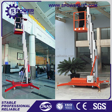Double mast electric power aluminum telescopic boom lift/mobile ladders lift