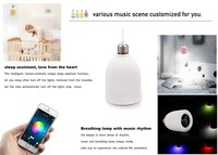 Color changing mini pulse bluetooth speaker bulb led light for iphone for mobilephone remote control with timer alarm function