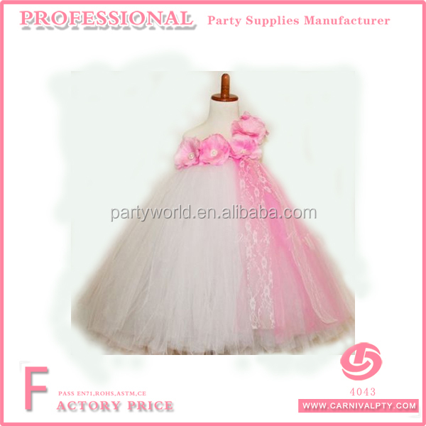girls pink & white bridesmaid dress flower girl tutu wedding princess