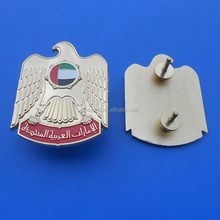 2016 Hot Sale UAE National Day Falcon Badge, Gold Tone Zamak Srew Plus Nut Badge, 65mm