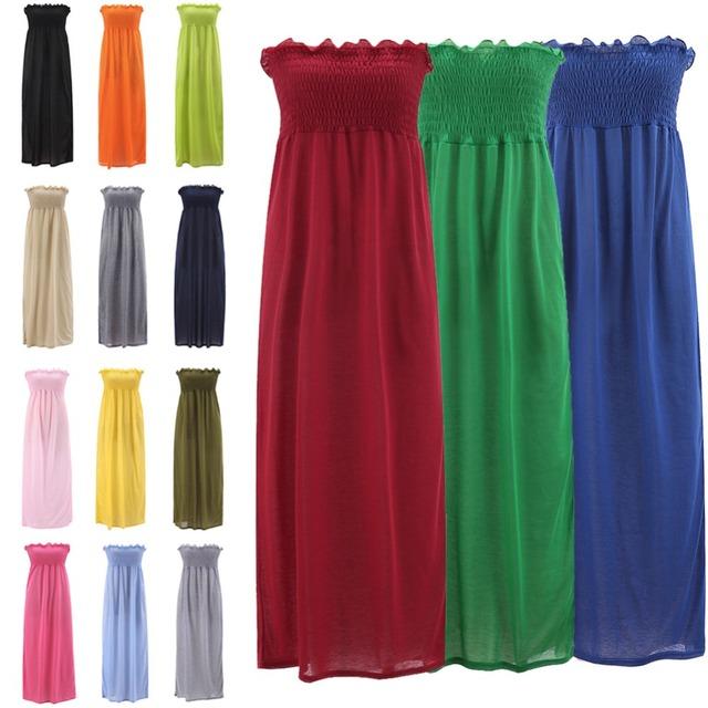2017 Women Elegant Bohemian Long Dresses Lady Boho Maxi Strapless Dress