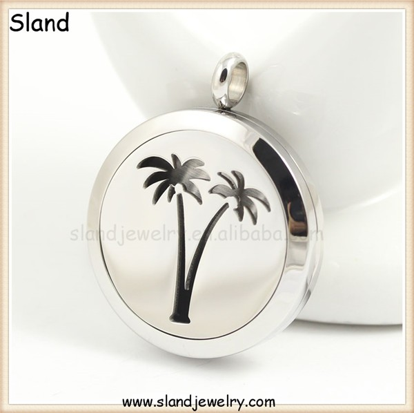 China supplier wholesale 316L Stainless steel Coconut tree Aromatherapy Essential Oils Diffuser Locket Necklace Pendant