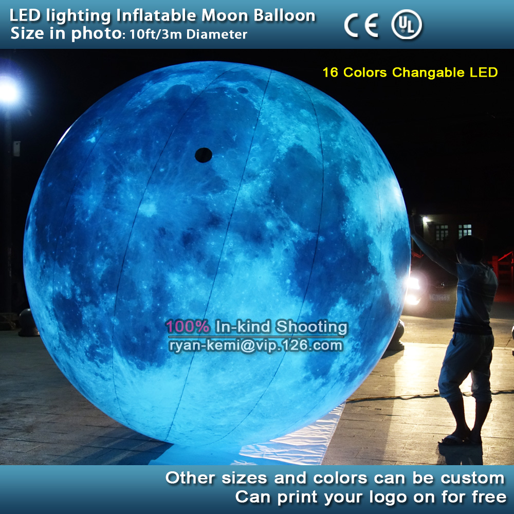 free shipping 10ft 3m led lighting inflatable moon balloon outdoor