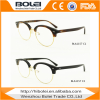 brand name spectacle optical frame half metal half rim acetate eyeglasses