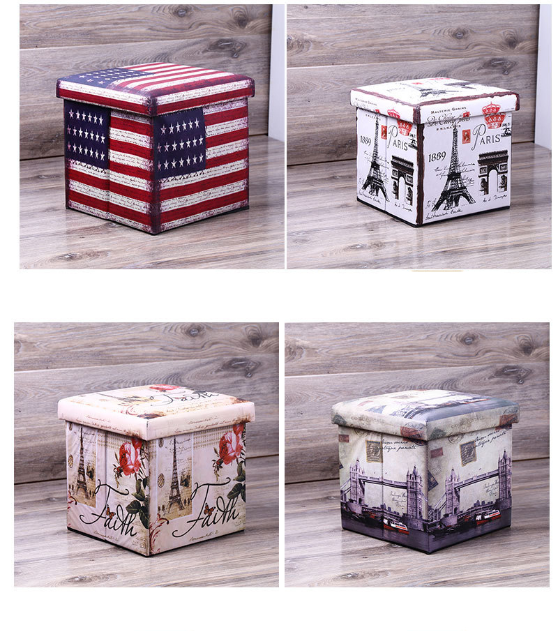 Vintage PVC Printed Removeable  Confortable  Storage Ottoman Box Seat